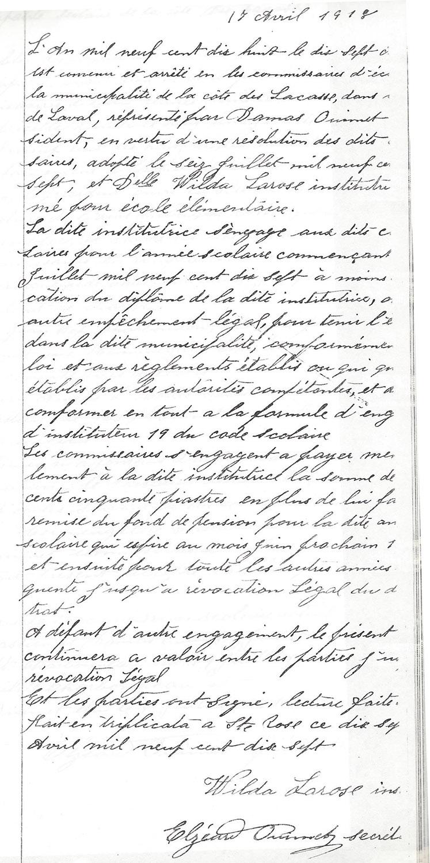 Contrat de Wilda Larose, 1918